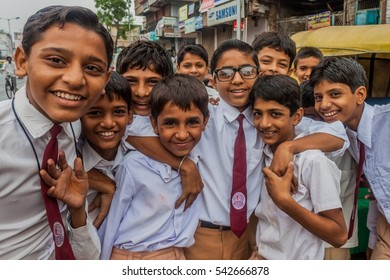 AHMEDABAD, INDIA - SEPTEMBER 7, 2011: Unidentified children in school uniforms in Ahmedabad, India.