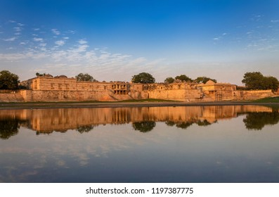 Ahmedabad,Gujarat,India, December 08,2014  A View Of Ancient Mosque And Tomb Complex Across Water In Sarkhej Roza..