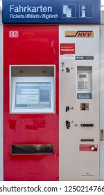 Ahrensburg, Schleswig-Holstein, Germany - December 12th 2018: Ticket vending machine at a trainstation in Schleswig-Holstein, Germany. There are local HVV tickets on sale, also national tickets.