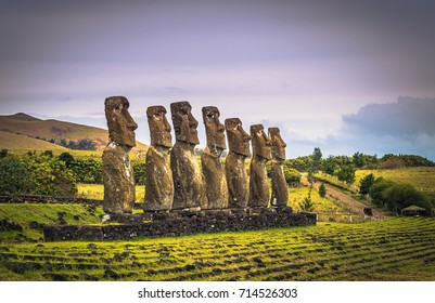 Ahu Akivi, Easter Island - July 11, 2017: Moai altar of Ahu Akivi