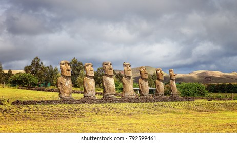 Ahu Akivi was the first restored Ahu, seven moai facing the rising sun, representing the seven scouts sent before the arrival of Hotu Matua, Easter Island, Chile