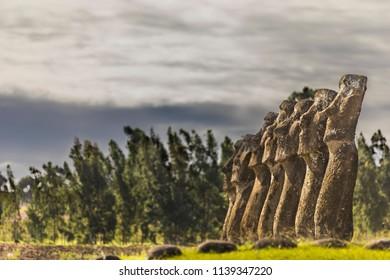 Ahu Akivi, the unique Moais facing the sea on Easter Island.