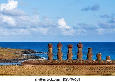 Ahu Nao-Nao on Anakena. Rapa Nui National Park,  Easter Island, Chile.  UNESCO World Heritage Site