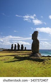 Ahu Tahai from Easter Island with blue sky