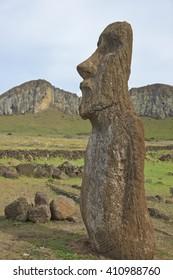 Ahu Tongariki. Ancient Moai statue on the coast of Rapa Nui (Easter Island). In t