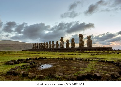 AHU TONGARIKI, The largest ceremonial platform on Rapa Nui National Park,  Easter Island, Chile.  UNESCO World Heritage Site