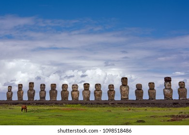 AHU TONGARIKI, The largest ceremonial platform onRapa Nui National Park,  Easter Island, Chile.  UNESCO World Heritage Site