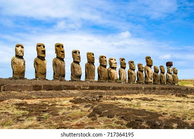Ahu Tongariki is the largest ahu on Easter Island, Chile