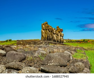 Ahu Tongariki moai platform profile view with clear blue sky with text space