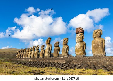 Ahu Tongariki, the most amazing Ahu platform on Easter Island. 15 moais still stand up at the south east of the Island. Ahu Tongariki reveals the Moais magic.