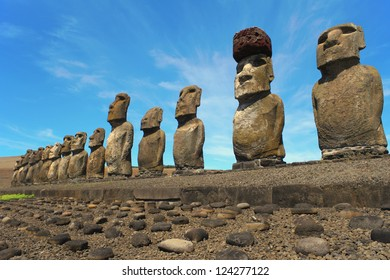 Ahu Tongariki on Easter Island, Chile.