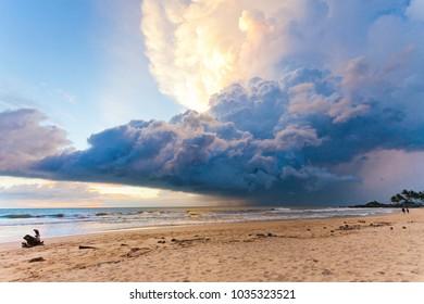 Ahungalla Beach, Sri Lanka, Asia - Weather phenomenon during sunset at the beach of Ahungalla
