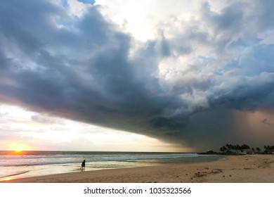Ahungalla Beach, Sri Lanka, Asia - Impressive atmosphere disturbance during sunset at the beach of Ahungalla