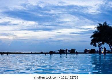 Ahungalla, Sri Lanka - Enjoying the twilight hour and the blue sky at the beach