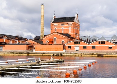 Ahus, Sweden - April 26, 2018: Travel documentary of everyday life and environment. Industrial buildings of The Absolute Company, manufacturer of Absolute Vodka.