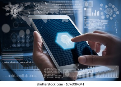 AI, Artificial Intelligence, Big data, Internet of Things IoT. Business Intelligence. Man using digital by id touch, big data, deep learning, coding on computer with futuristic technology background