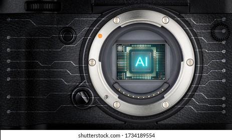 AI (Artificial Intelligence) concept, AI chip on APS-C Digital camera sensor, AI technology with digital camera.