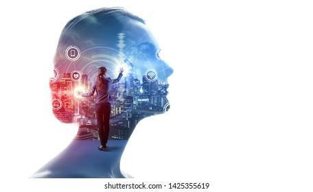 Concepto de IA (Inteligencia Artificial). Red de comunicación.