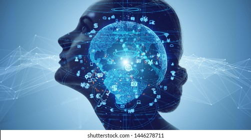 AI (Artificial Intelligence) concept. Communication network.