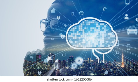 AI (Artificial Intelligence) concept. Deep learning. Mindfulness. Psychology.