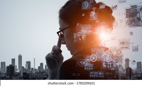 AI (Artificial Intelligence) concept. Deep learning. IoT (Internet of Things). ICT (Information Communication Technology).