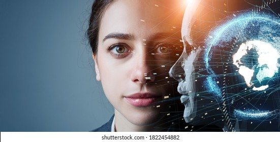 AI (Artificial Intelligence) concept. Deep learning. Machine learning. Singularity. - Shutterstock ID 1822454882