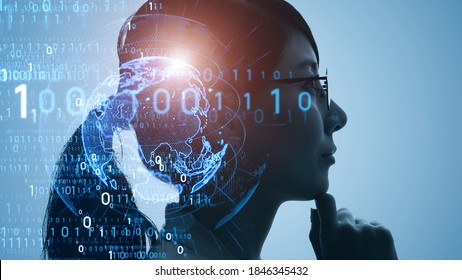 AI (Artificial Intelligence) concept. Deep learning. Digital transformation.