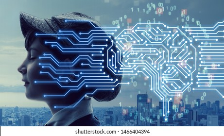 AI (Artificial Intelligence) concept. Electronic circuit. Communication network.