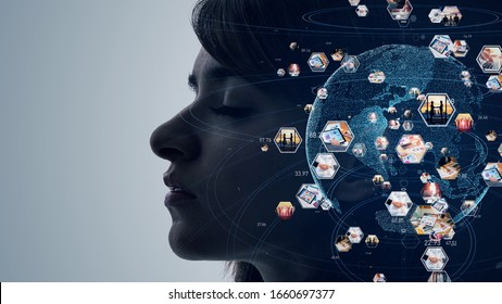 AI (Artificial Intelligence) concept. Global communication network. Diversity.