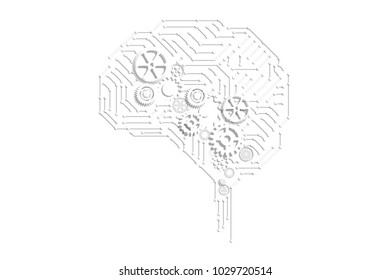 AI (artificial intelligence) concept, machine learning, nanotechnologies and another modern technologies concepts, Industry 4.0 concept on white background