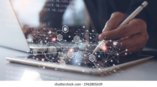 Ai, Artificial Intelligence, Digital technology, software development, IoT Internet of Things concept. Programmer, software engineer using digital tablet, coding on laptop, javascript computer code