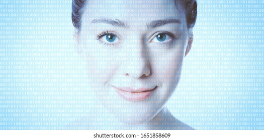 AI artificial intelligence or female programmer coder - binary computer code superimposed on face of woman