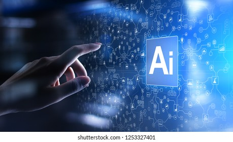 AI Artificial intelligence, Machine learning, Big data analysis and automation technology in business and industrial manufacturing concept on virtual screen.