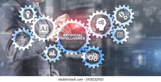 AI artificial intelligence machine learning neural network. Innovation technology concept. Mixed media.