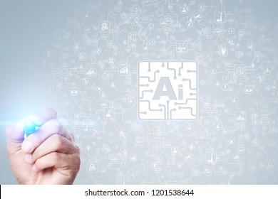 AI- Artificial intelligence, Smart technology and innovation in industry business and life concept on virtual screen.
