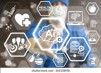 AI Binary Cloud Smart Medicine Innovation Technology Integration. Binary digital smart storage in health care. Intellectual server big data technology. Doctor pressing cloud 0 1 ai gear button.