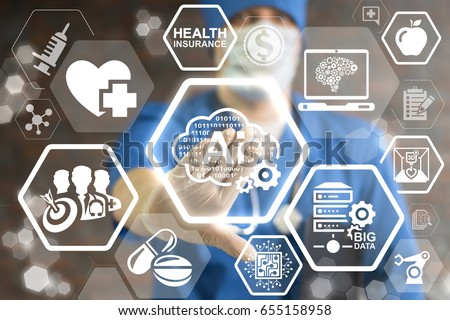AI Binary Cloud Smart Medicine Innovation Technology Integration. Binary digital smart storage in health care. Intellectual server big data technology. Doctor pressing cloud 0 1 ai gear button.