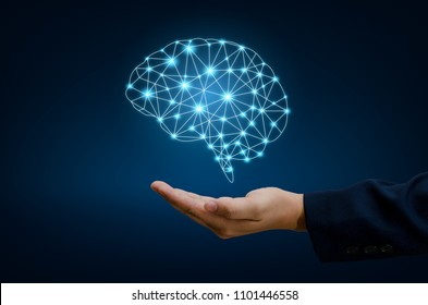 AI and Business Brain Graphic Binary Blue Technology
