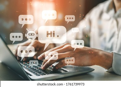 AI Chatbot smart digital customer service application concept. Computer or mobile device application using artificial intelligence chat bot automatic reply online message to help customers instantly. - Shutterstock ID 1761739973