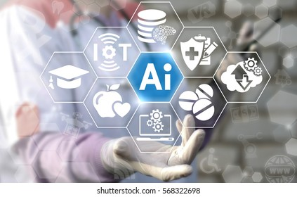 AI IT iot medicine integration automation computer health care web big data concept. Artificial intelligence healthy computing modernization medical engineering technology
