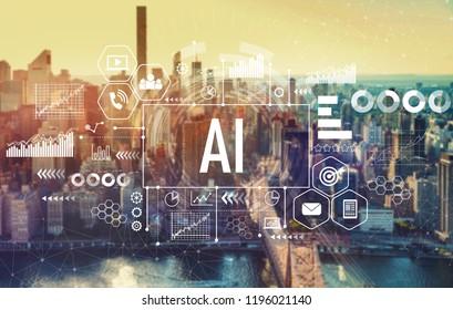 AI with the New York City skyline near midtown