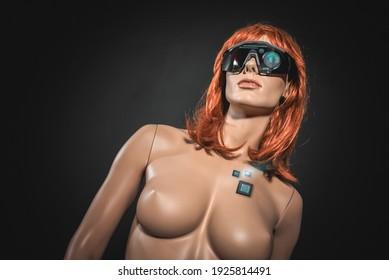 AI woman concept. Sci fi cyborg woman concept.