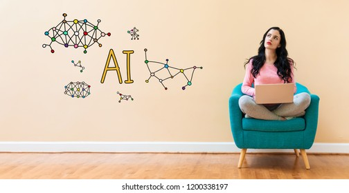 AI with young woman using a laptop computer