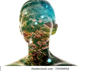 AI(Artificial Intelligence) concept. Woman silhouette and electric circuit.