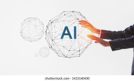 AI(Artificial Intelligence) concept.Future High technology for business.Management Technical Industrial Engineer working and control robotics with monitoring system.