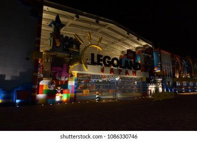 aichi, japan, 05 04 2017 : night view of closed nagoya legoland