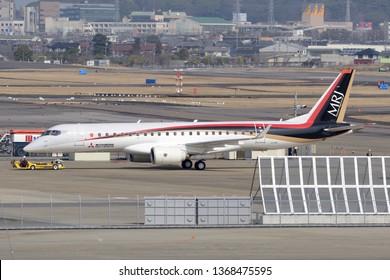 Aichi, Japan - March 08, 2016: Mitsubishi Aircraft Corporation Mitsubishi MRJ90STD, twin-engine regional jet aircraft. (1st prototype #JA21MJ)