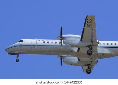 Aichi, Japan - March 08, 2016:Japan Civil Aviation Bureau Saab 2000 (JA003G) flight inspection aircraft.