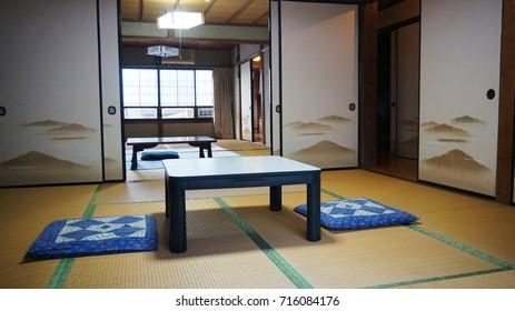 AICHI, JAPAN - OCT. 20, 2016: Interior of ryokan or Japanese style hotel in Mt. Houraiji, Aichi Prefecture.