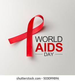 Aids Awareness Sign Red Ribbon. World Aids Day concept, 1 December, Logo HIV symbol.